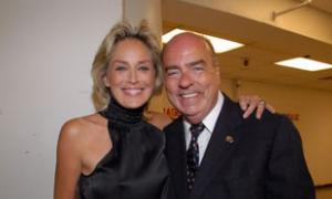 Live Auctioneer Sharon Stone with Event Chair/Exec Producer Arthur Kassel