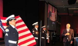 US Congressman Dana Rohrbacher recited the pledge of allegiance as the LAPD Color Guard presented the colors.