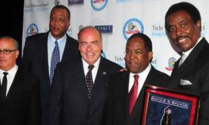 Event Vice Chair Peter Repovich, NBA legend Jamal Wilkes, Arthur M. Kassel, Hon. Mark Ridley-Thomas, and honoree Jim Hill